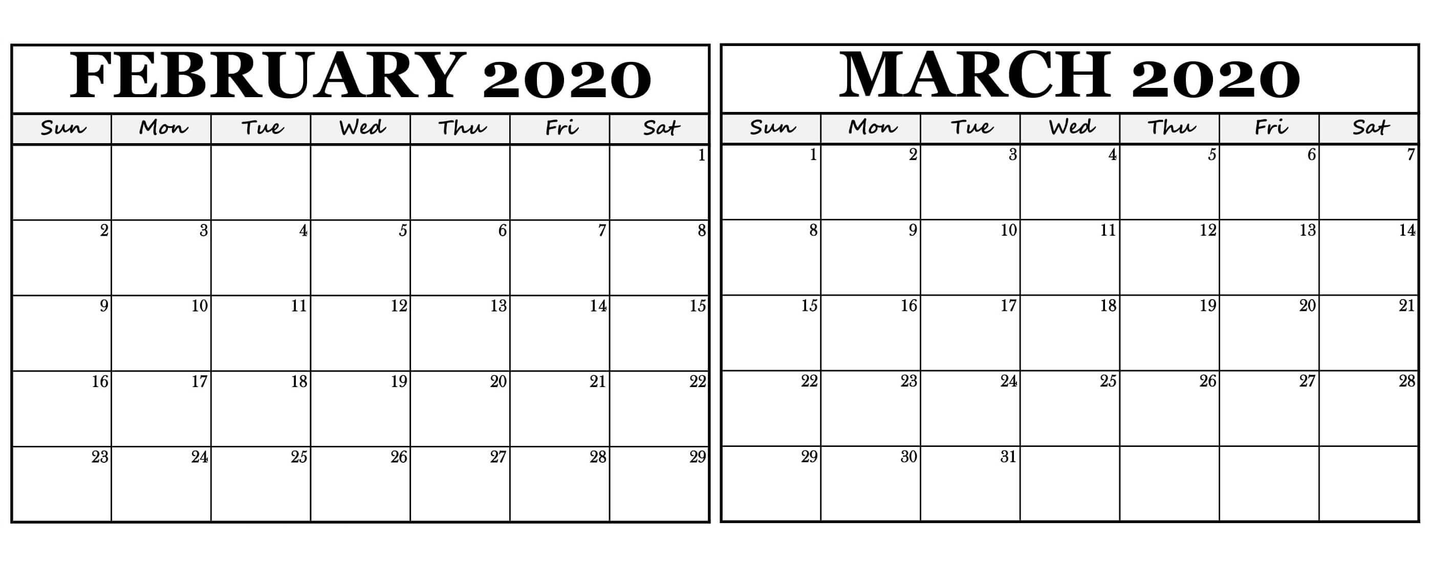 February March 2020 Calendar Template  2019 Calendars For within February And March 2020
