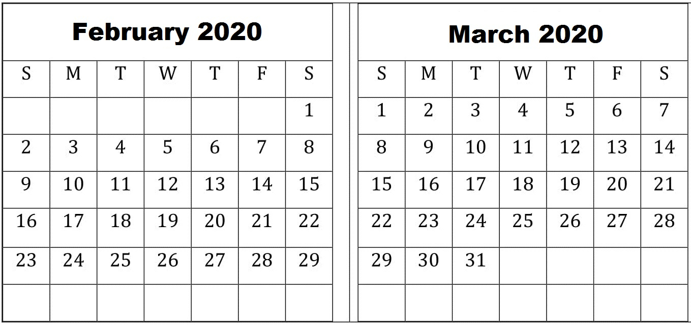 February March 2020 Calendar – Top Multiple Designs Template with regard to Feb And March 2020