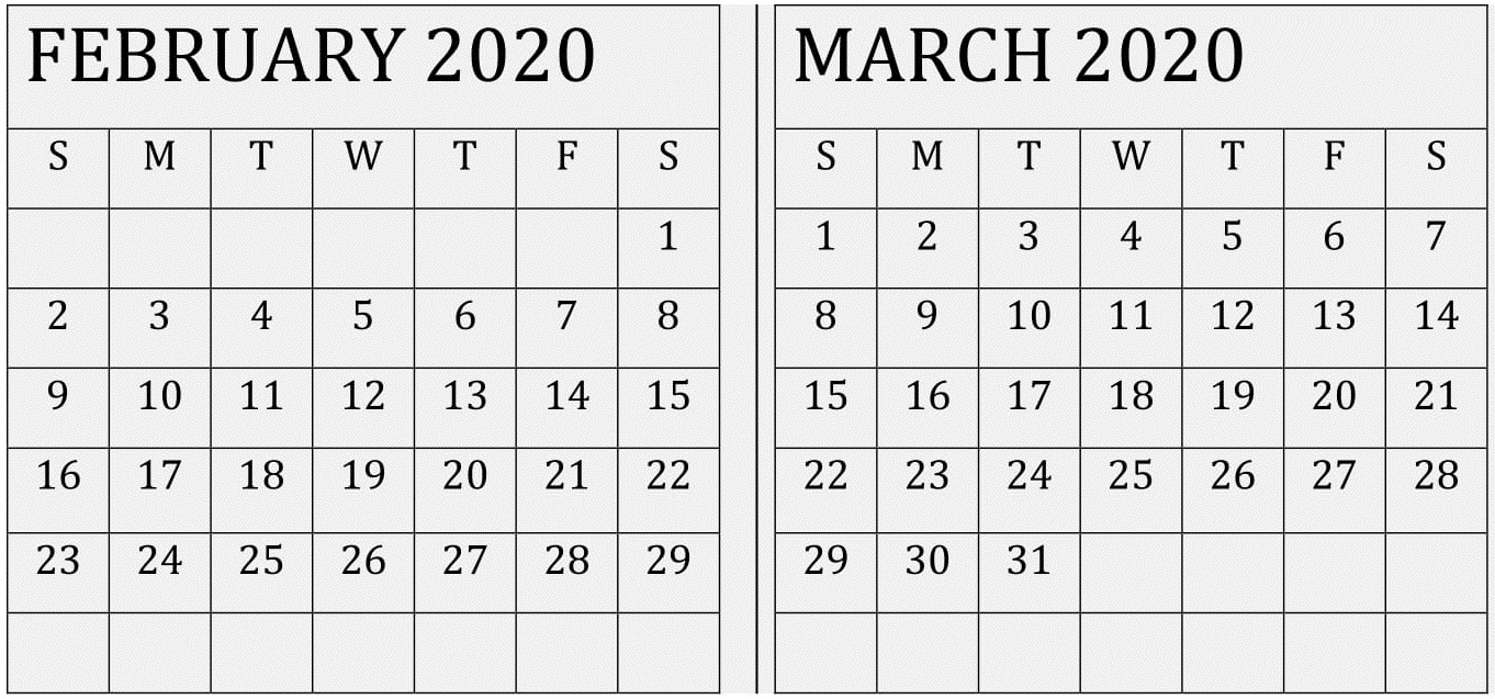 February March 2020 Calendar With Usa Holidays – Free Latest pertaining to 2020 Calendar February And March