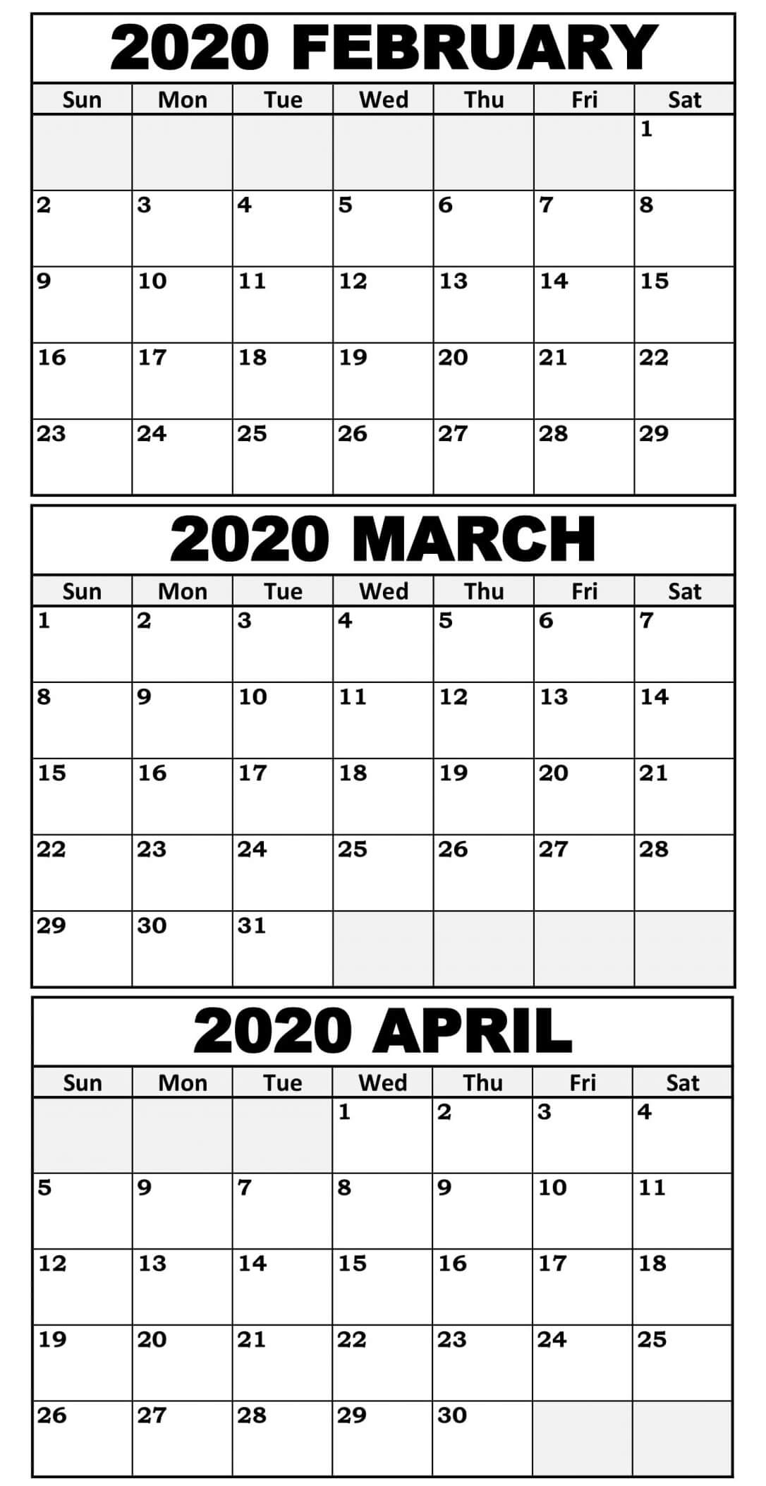 February To April 2020 Calendar With Holidays  2019 in 3 Month Calendar 2020 Excel