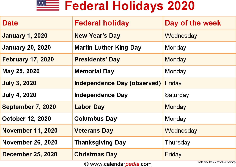 Federal Holidays 2020 regarding Jan 2020 Holiday
