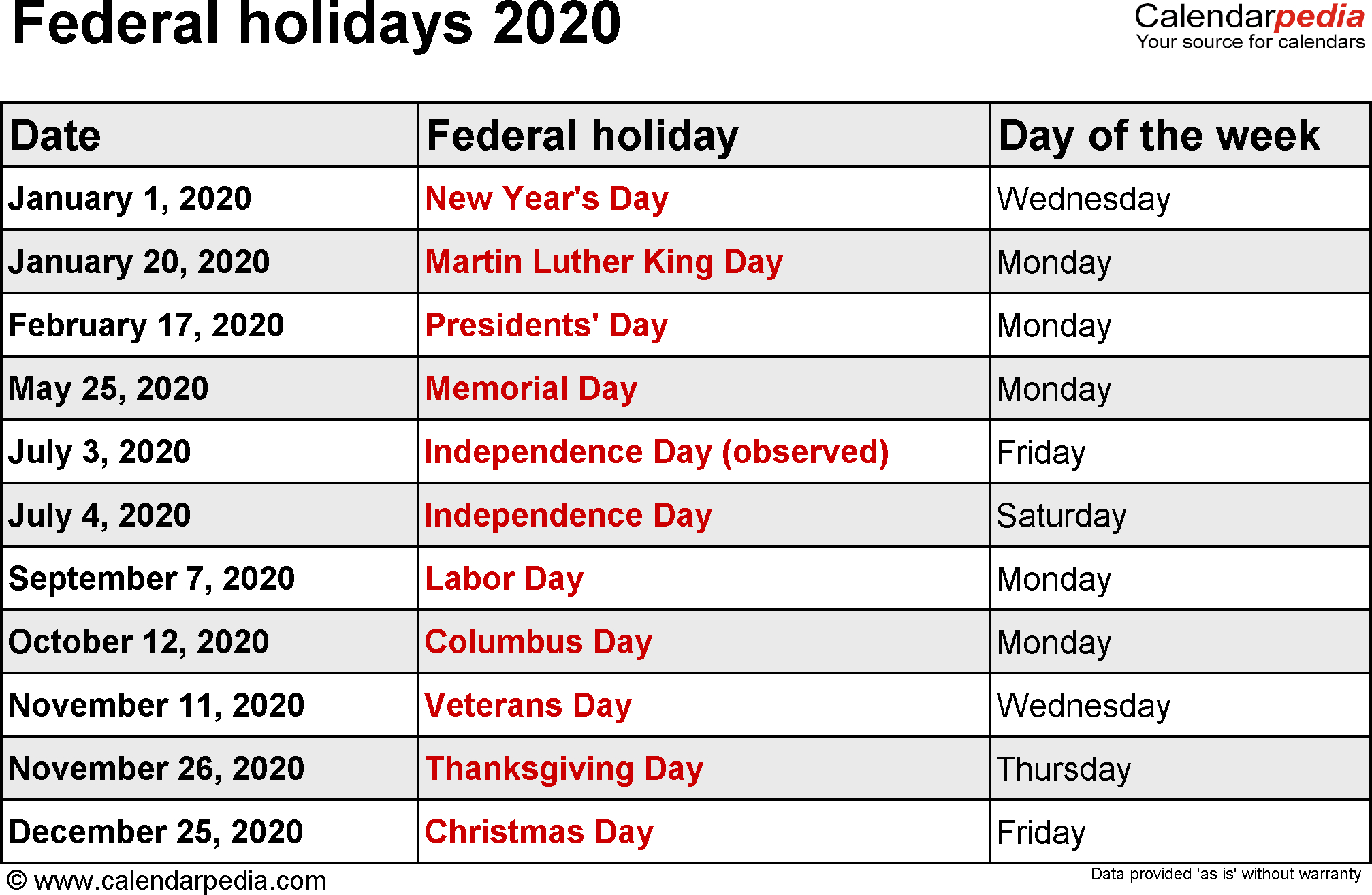 Federal Holidays 2020 throughout Jan 2020 Holiday