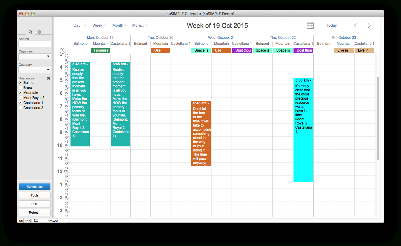 Filemaker Calendar And Resource Scheduler – By Sosimple with Filemaker Calendar Template