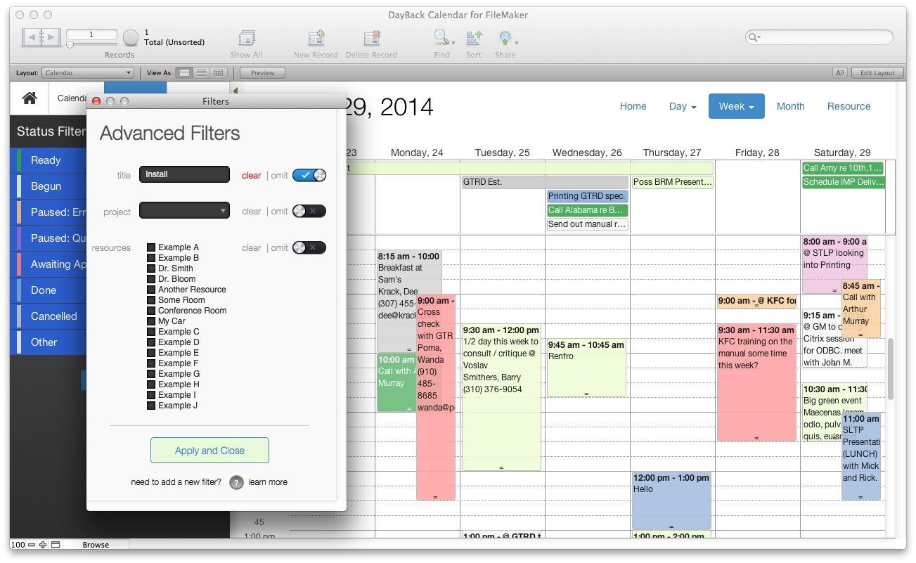 Filemaker Calendar And Resource Scheduling  Seedcode in Filemaker Calendar Template