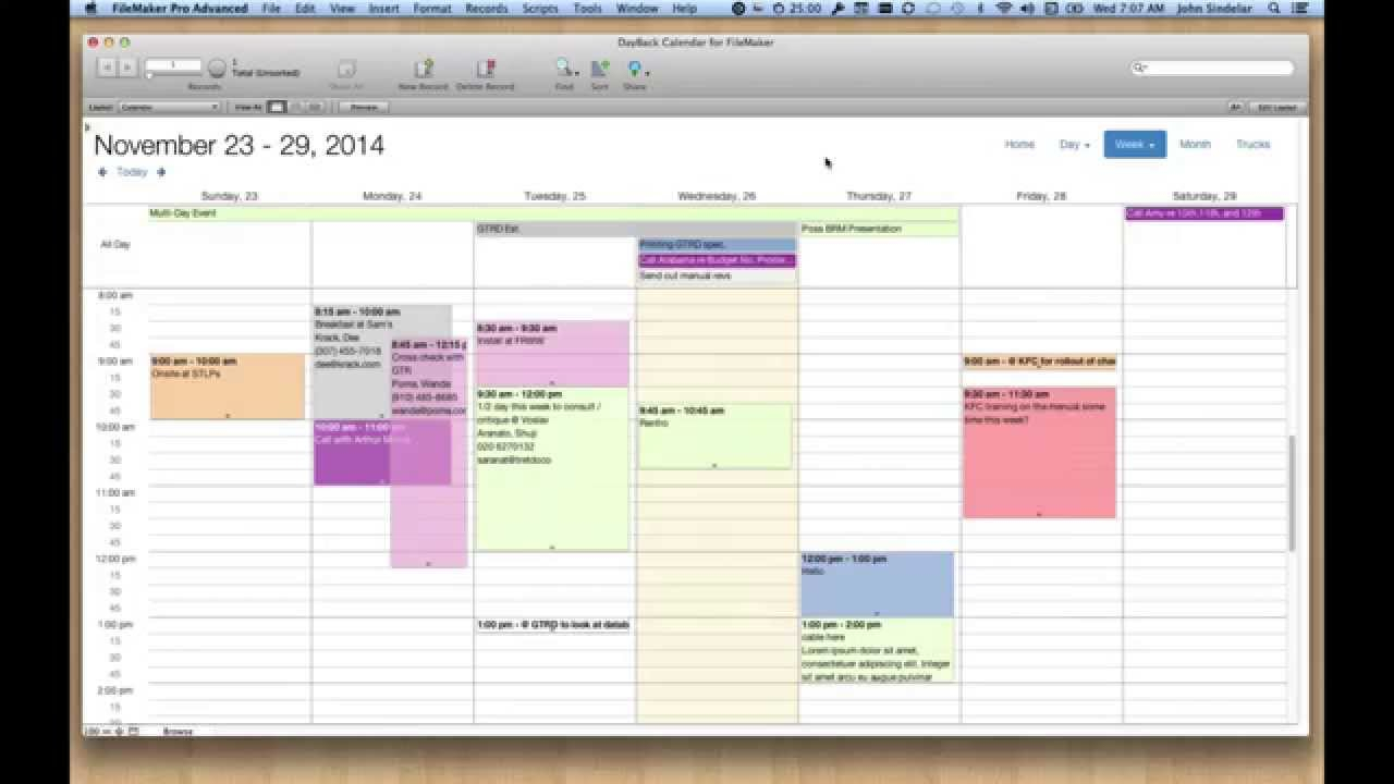 Filemaker Calendar And Resource Scheduling  Seedcode intended for Filemaker Calendar Template