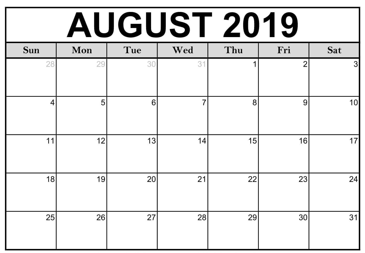 Fillable Calendar For August 2019 Printable Blank Template with regard to Blank Fillable Calendar