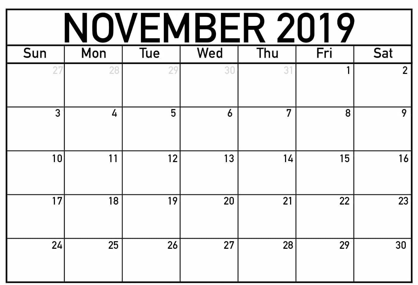 Fillable Calendar For November 2019 Printable | Printable for Fillable Printable Calendar