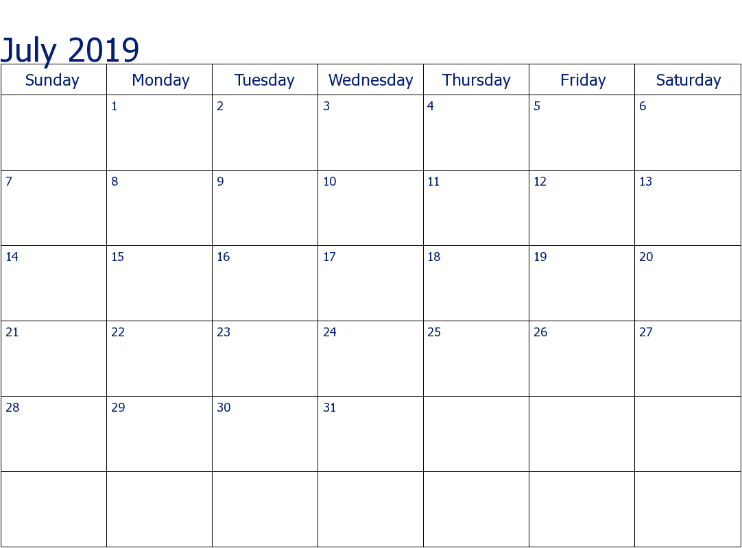 Fillable July 2019 Calendar Excel  Free Printable Calendar within Fillable Printable Calendar