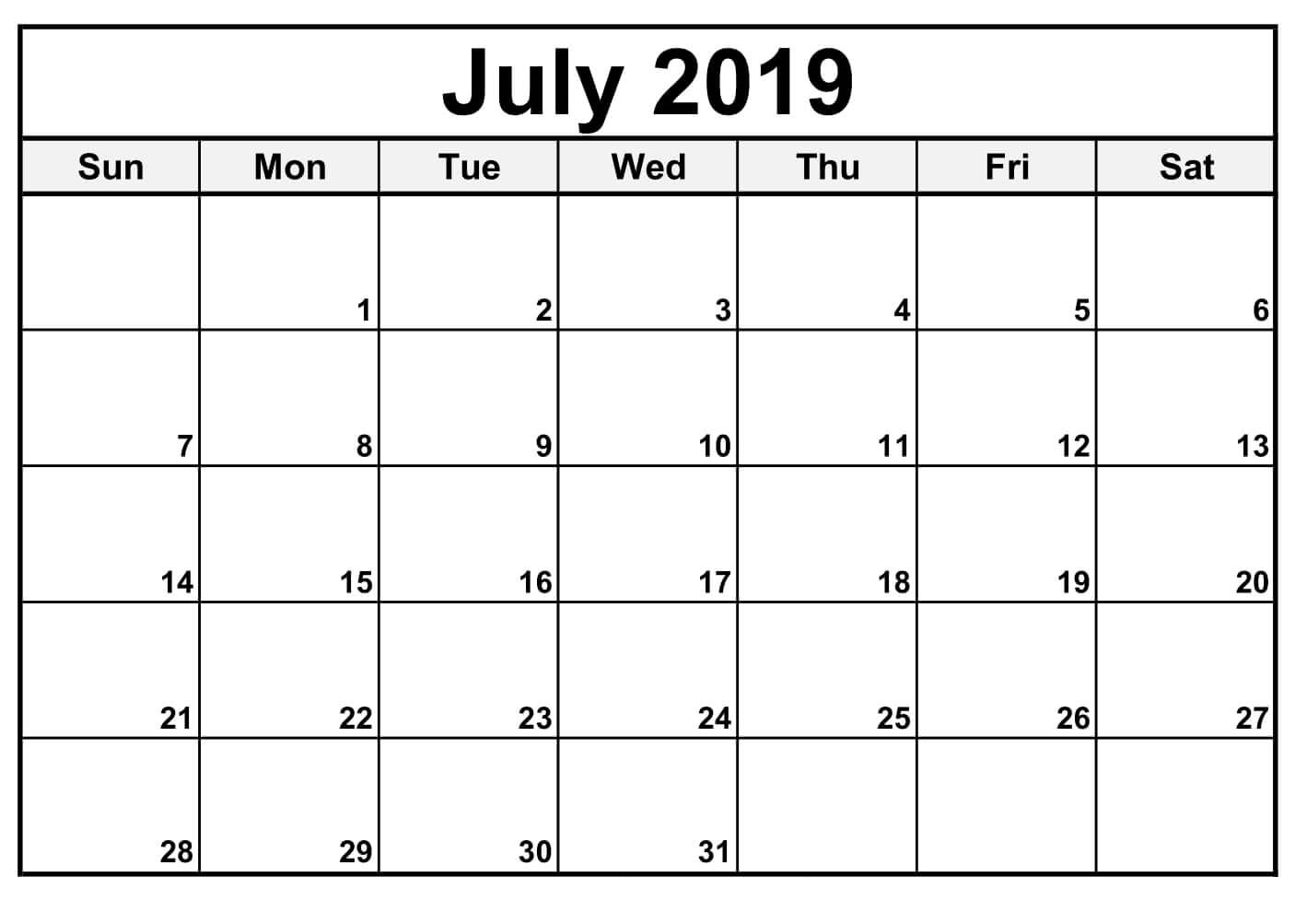 Fillable July 2019 Calendar Printable Template with Fillable Printable Calendar