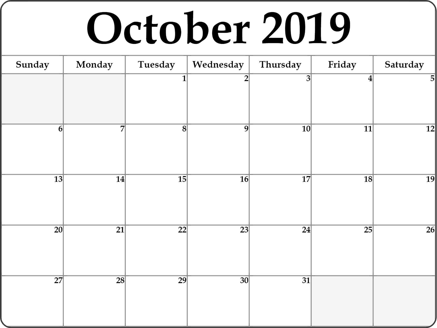 Fillable October Calendar 2019 Editable Printable Notes To intended for Blank Fillable Calendar