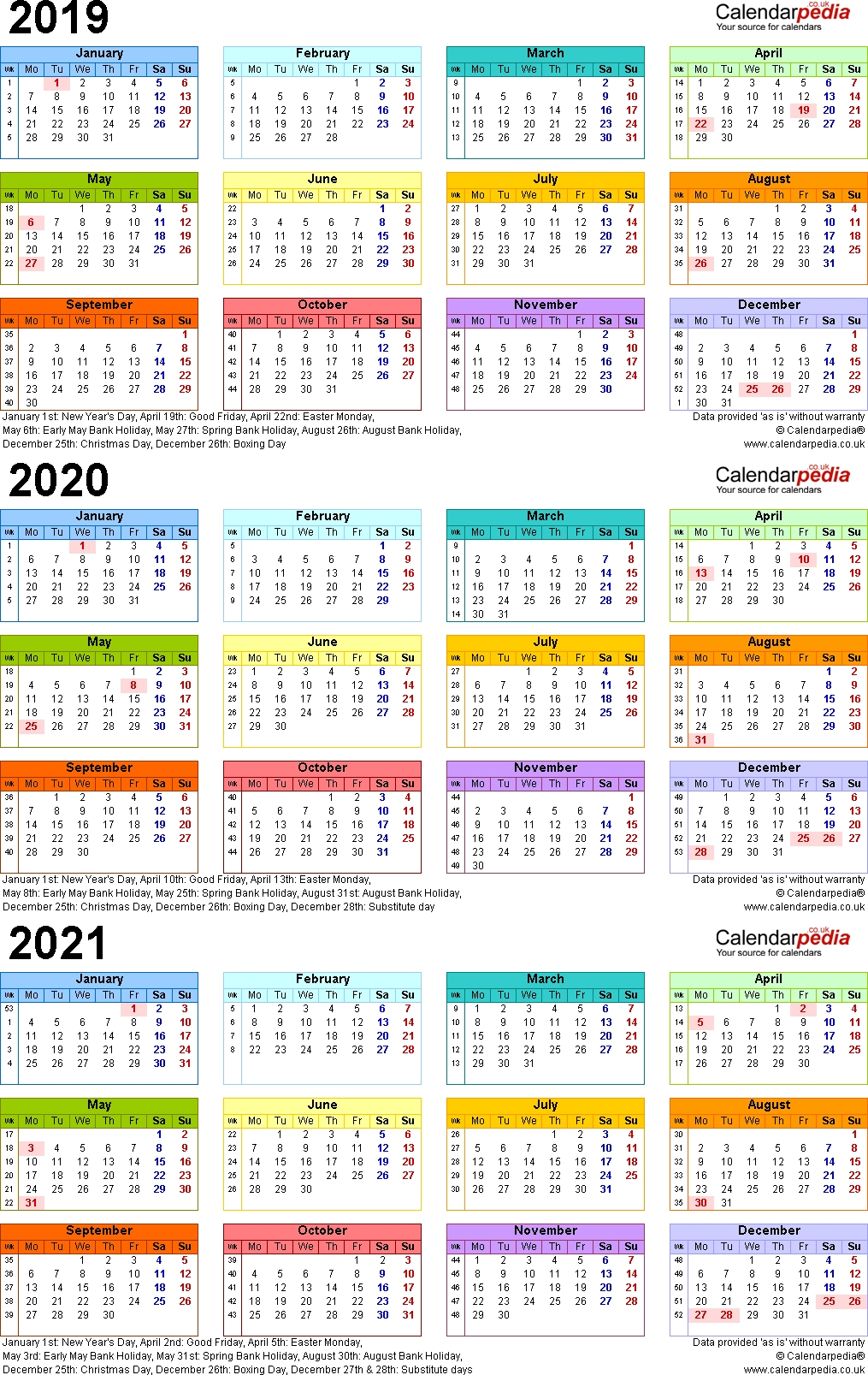 Fine 3 Year Calendar 2019 To 2021 : Mini Calendar Template in Three Year Calendar Printable