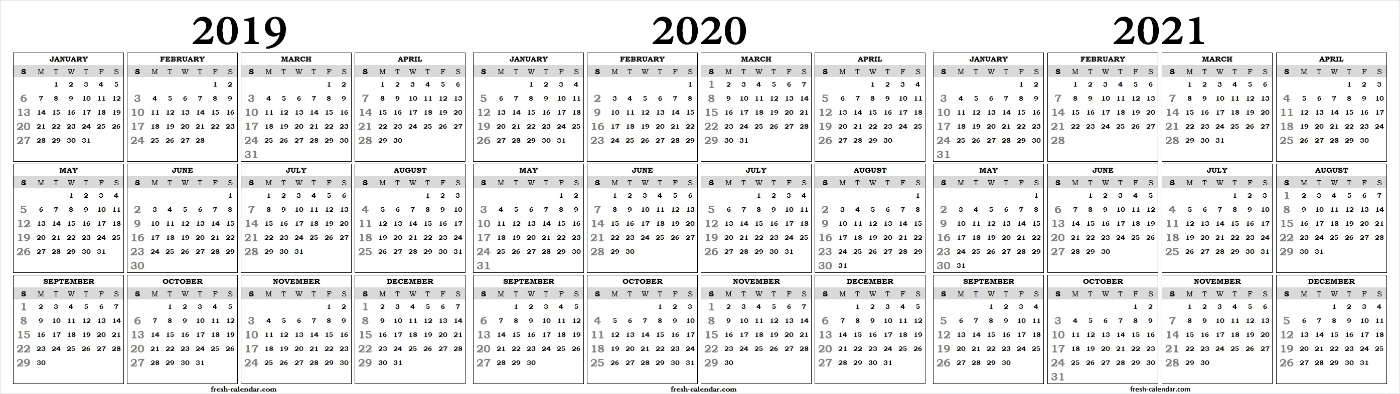 Fine 3 Year Calendar 2019 To 2021 : Mini Calendar Template within 3 Year Calendar 2020 To 2021 Printable