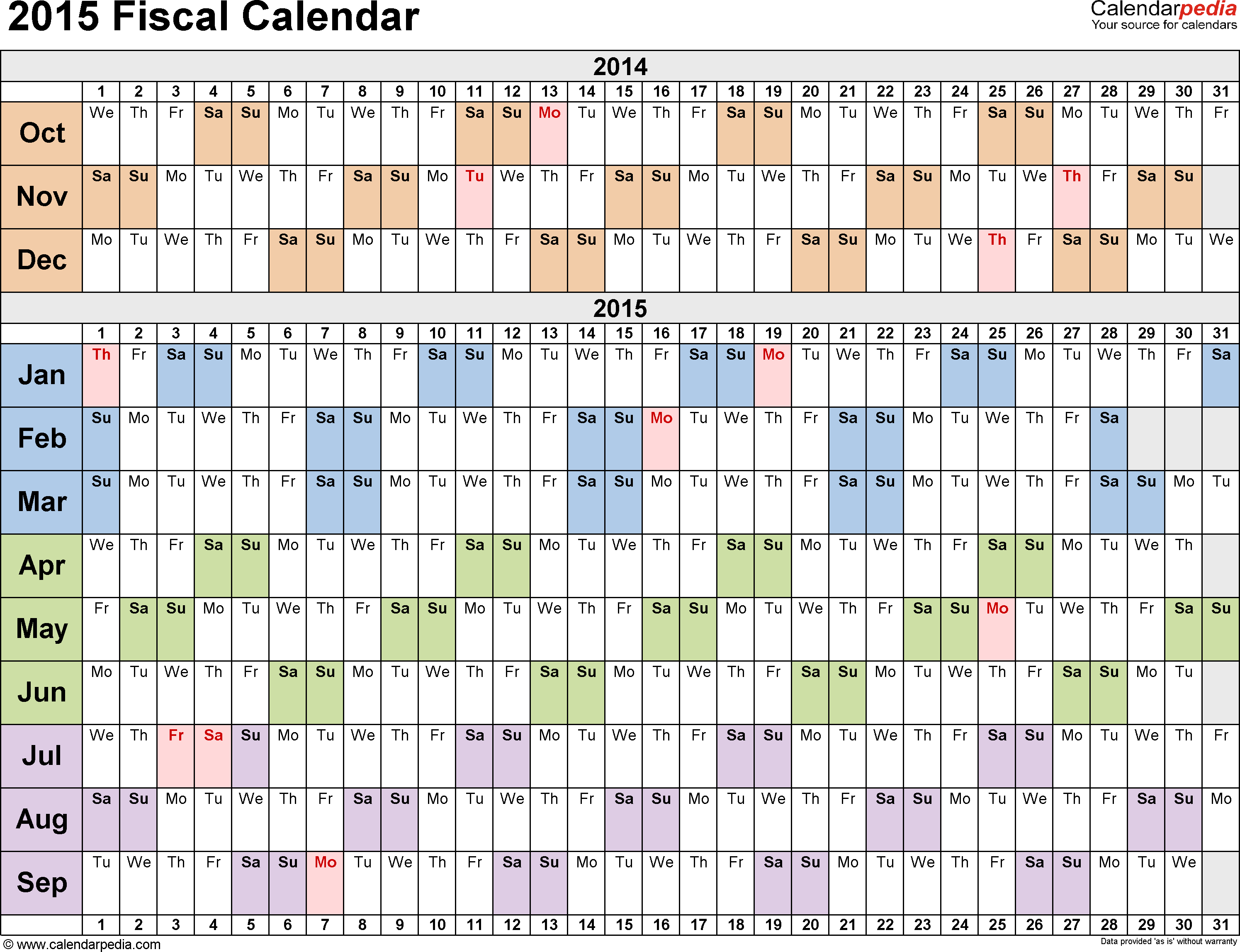 Fiscal Calendars 2015  Free Printable Pdf Templates in Calendar Year Vs Rolling Year