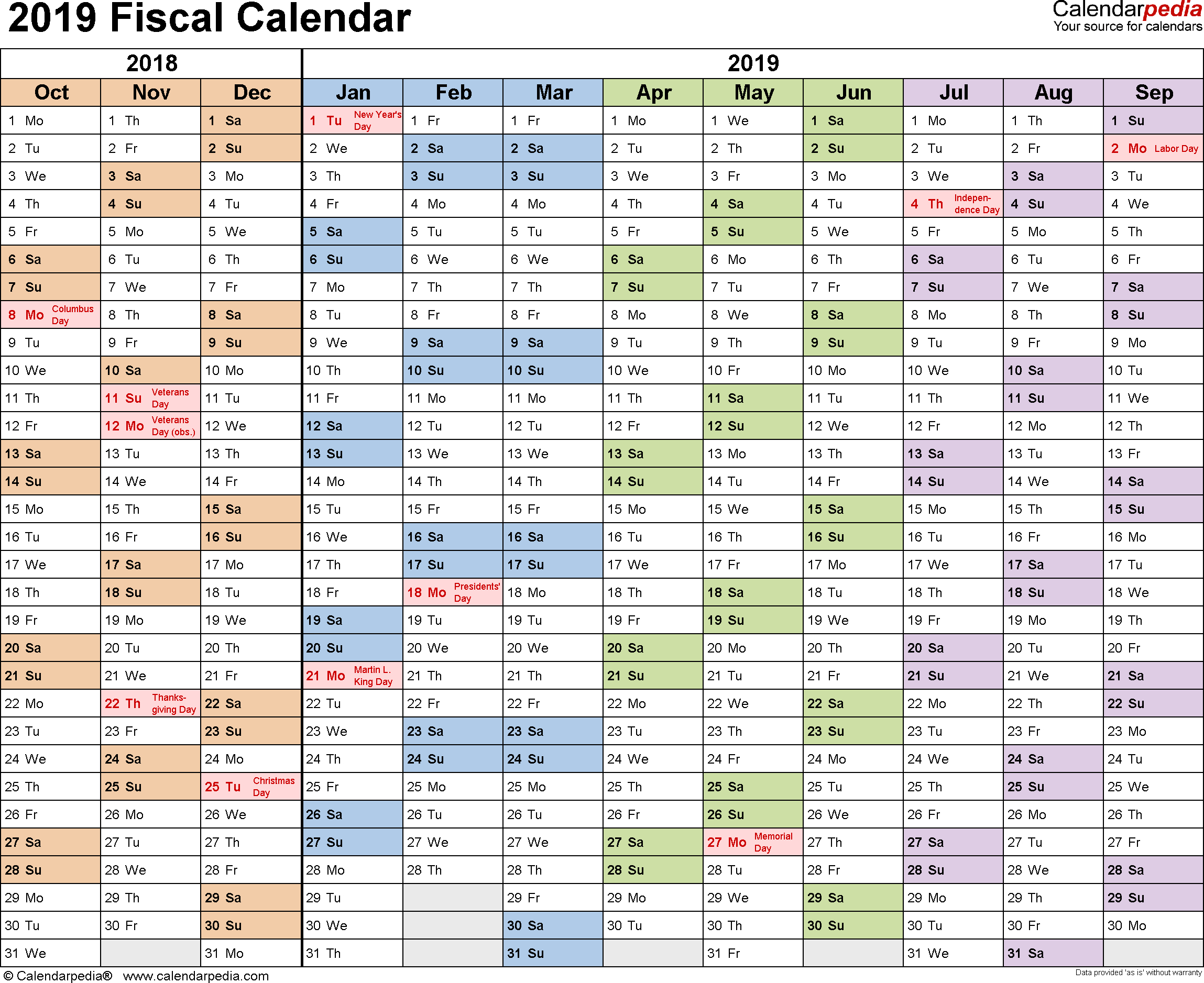 Fiscal Calendars 2019  Free Printable Pdf Templates pertaining to Rolling Calendar Year Definition