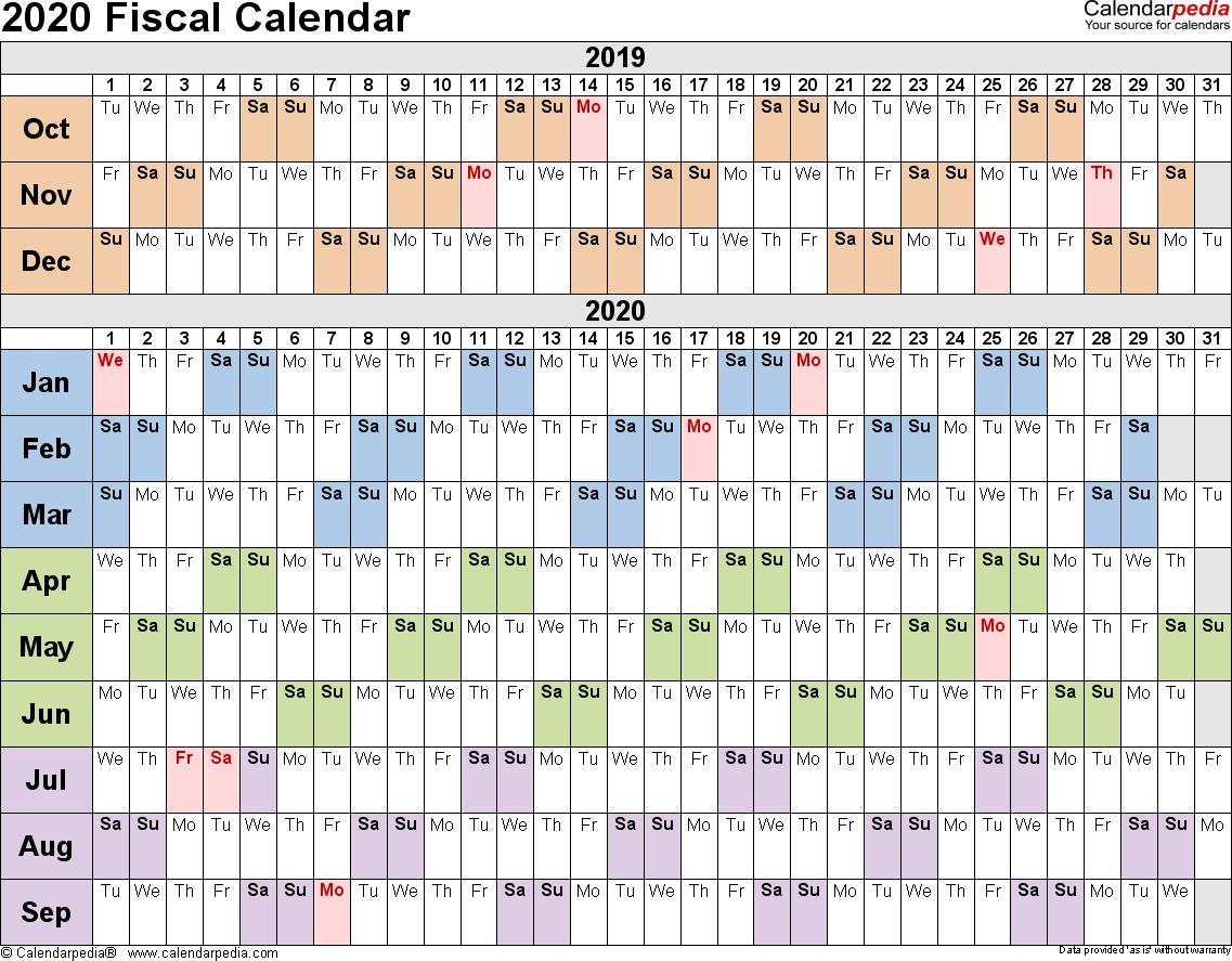 Fiscal Calendars 2020  Free Printable Pdf Templates for Q4 Calendar 2020