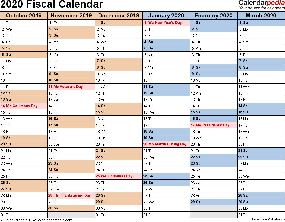 Fiscal Calendars 2020  Free Printable Pdf Templates inside Q4 Calendar 2020