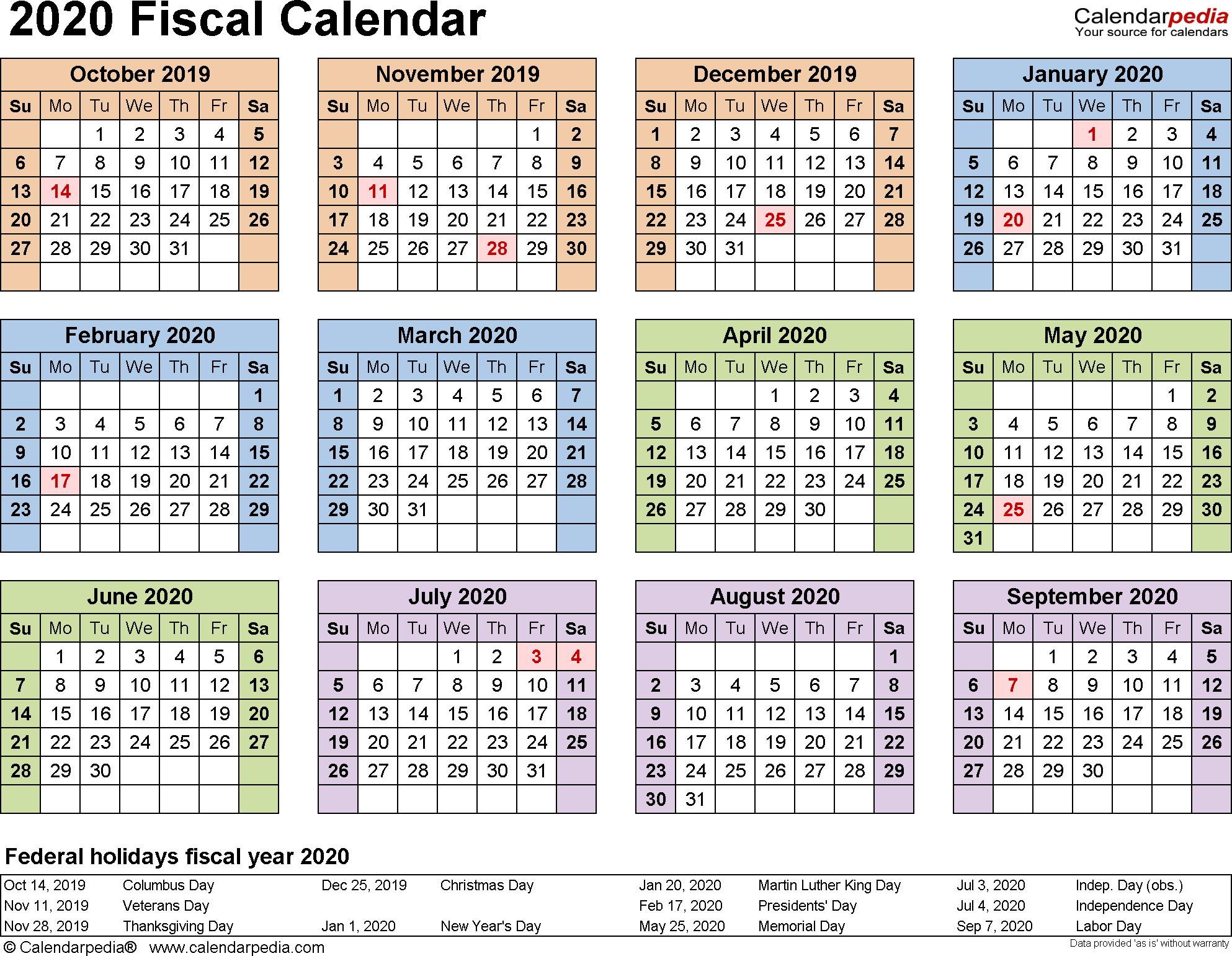Fiscal Calendars 2020  Free Printable Pdf Templates throughout Q4 Calendar 2020