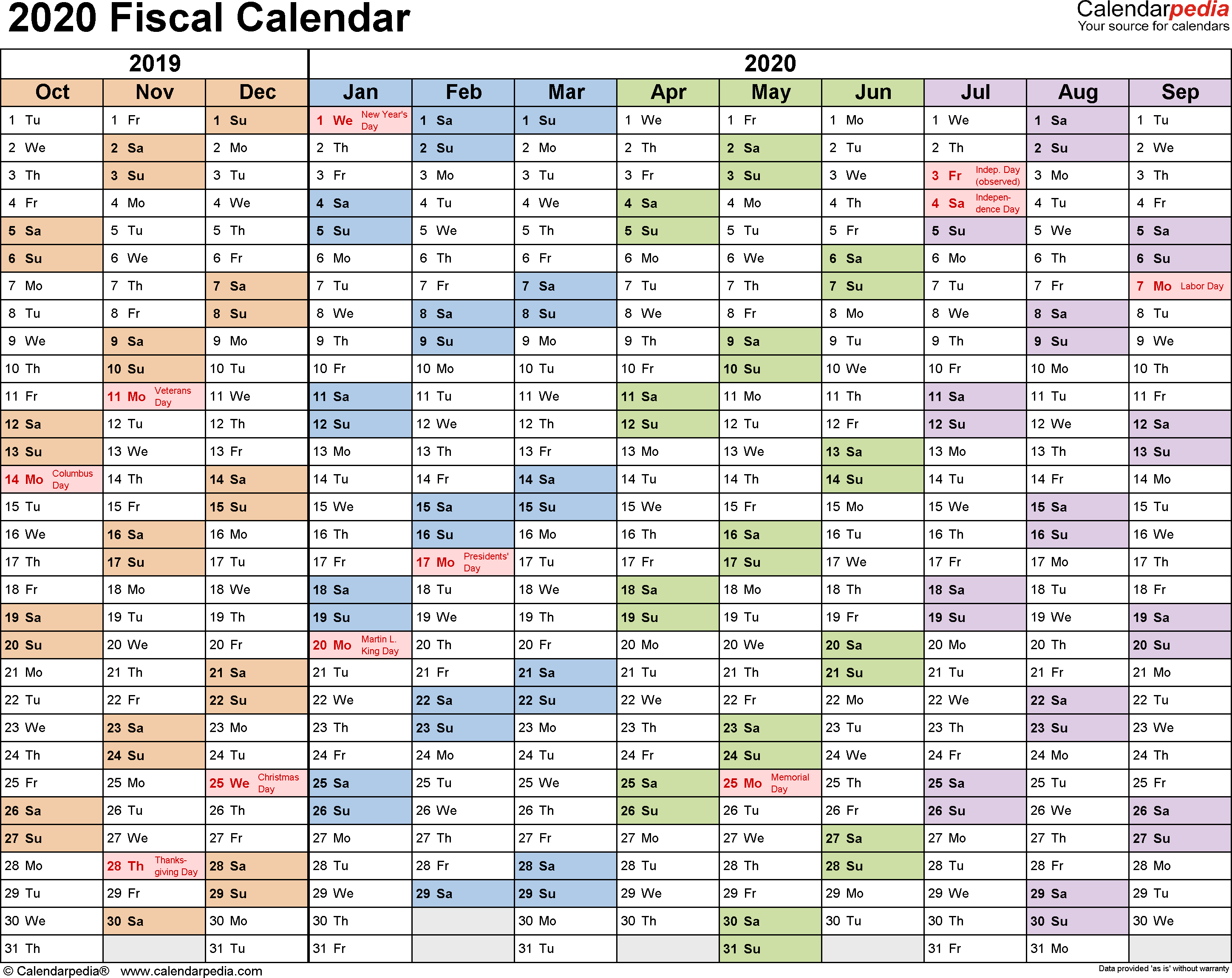 Fiscal Calendars 2020  Free Printable Pdf Templates within Rolling Calendar Year Definition