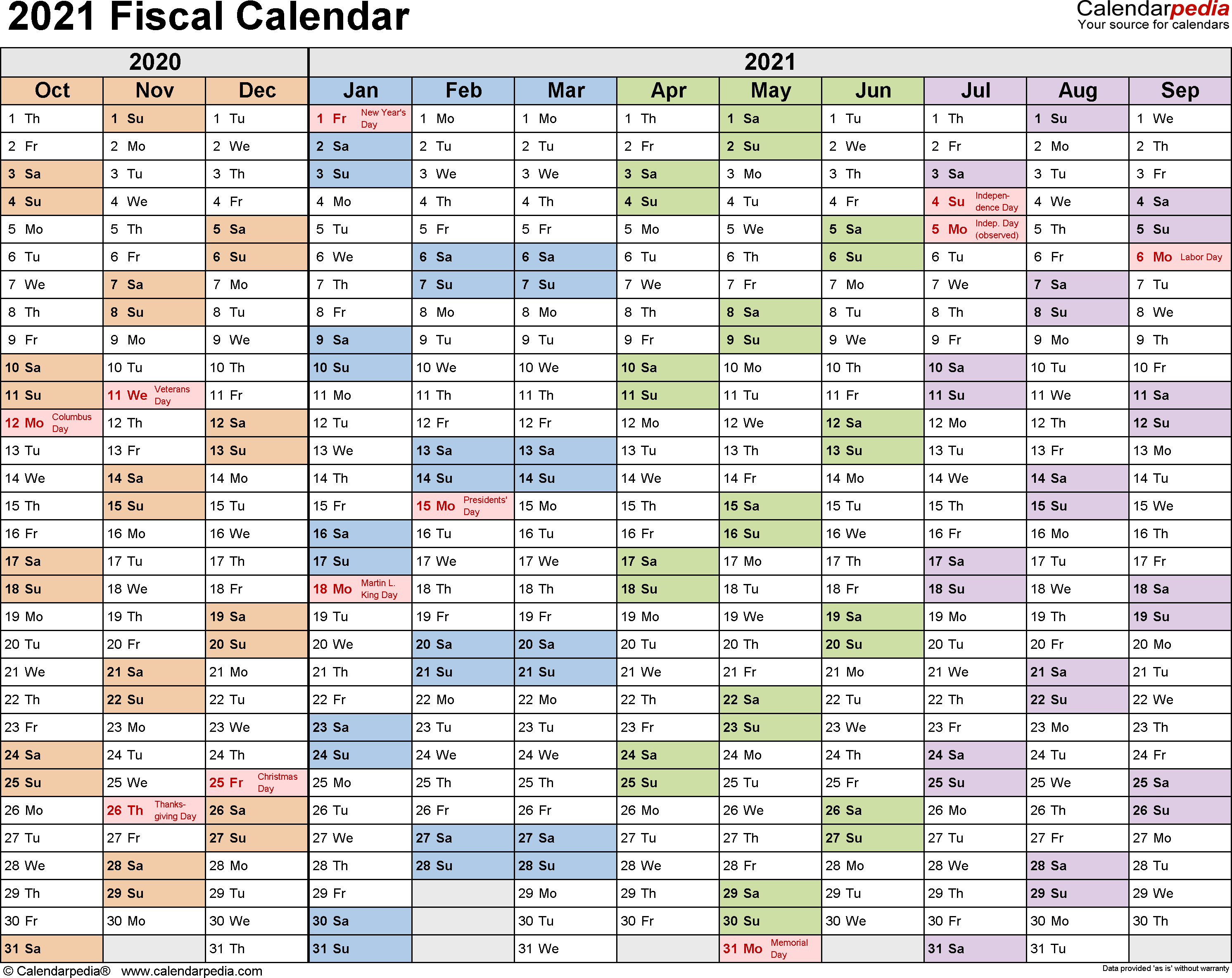 Fiscal Calendars 2021  Free Printable Pdf Templates inside Rolling Calendar Year Definition