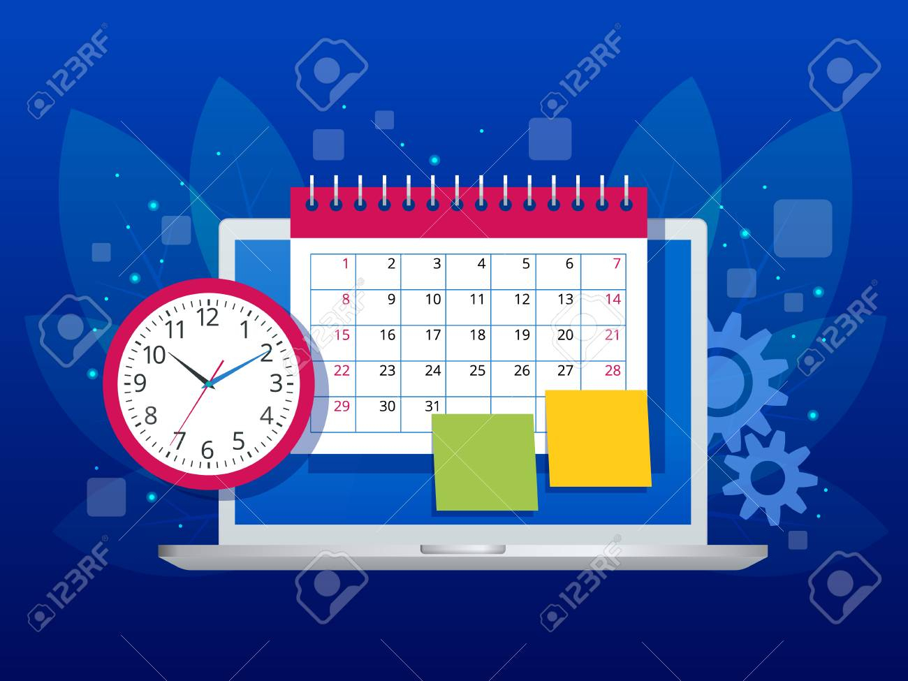 Flat Weekly Schedule And Calendar Planner Organization Management intended for Free Online Weekly Calendar