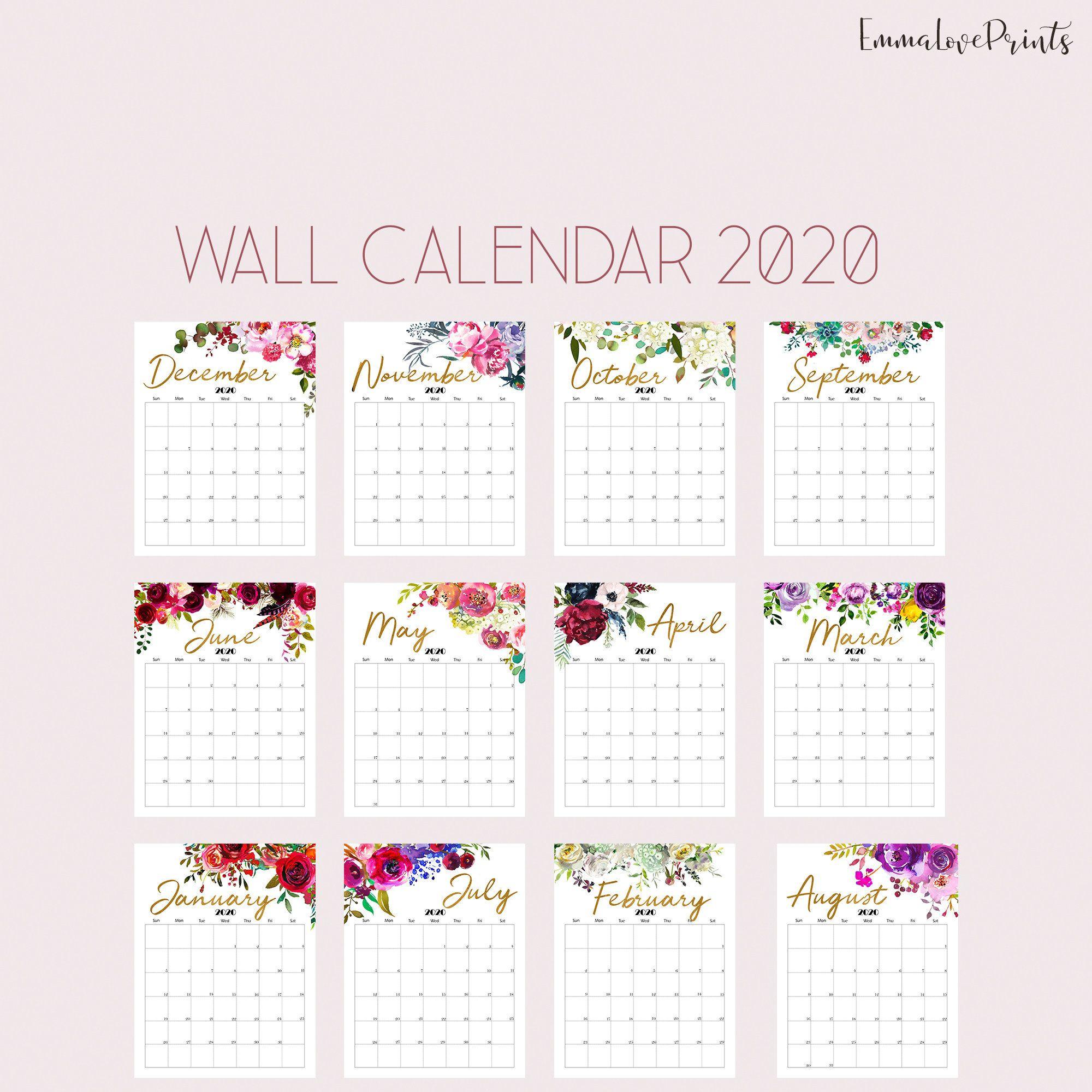 Floral Wall Calendar, Botanical Calendar 2020, Watercolour with December Calendar 2020 Pinterest