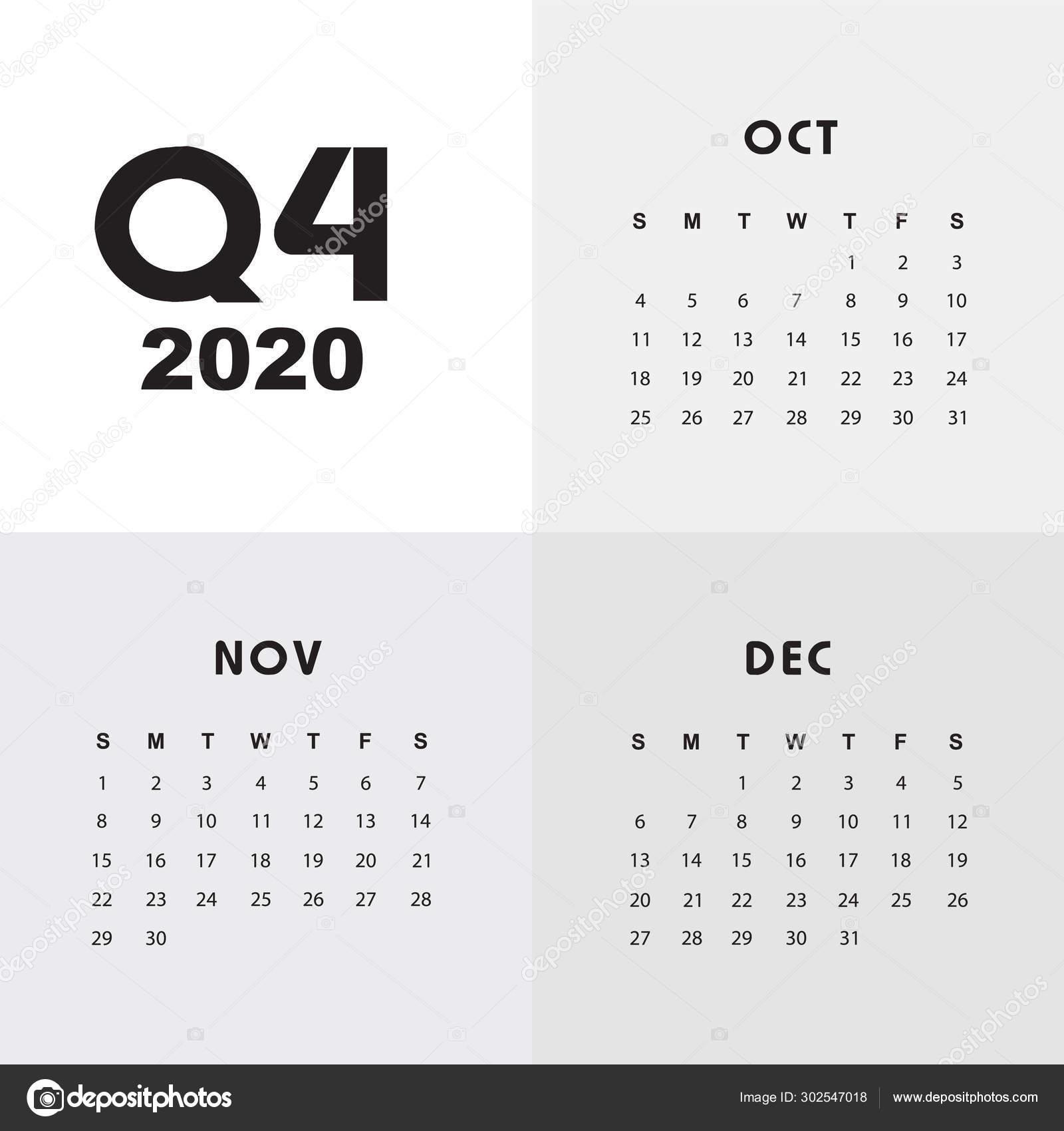Fourth Quarter Of Calendar 2020 — Stock Vector © Esbeauda throughout Q4 Calendar 2020