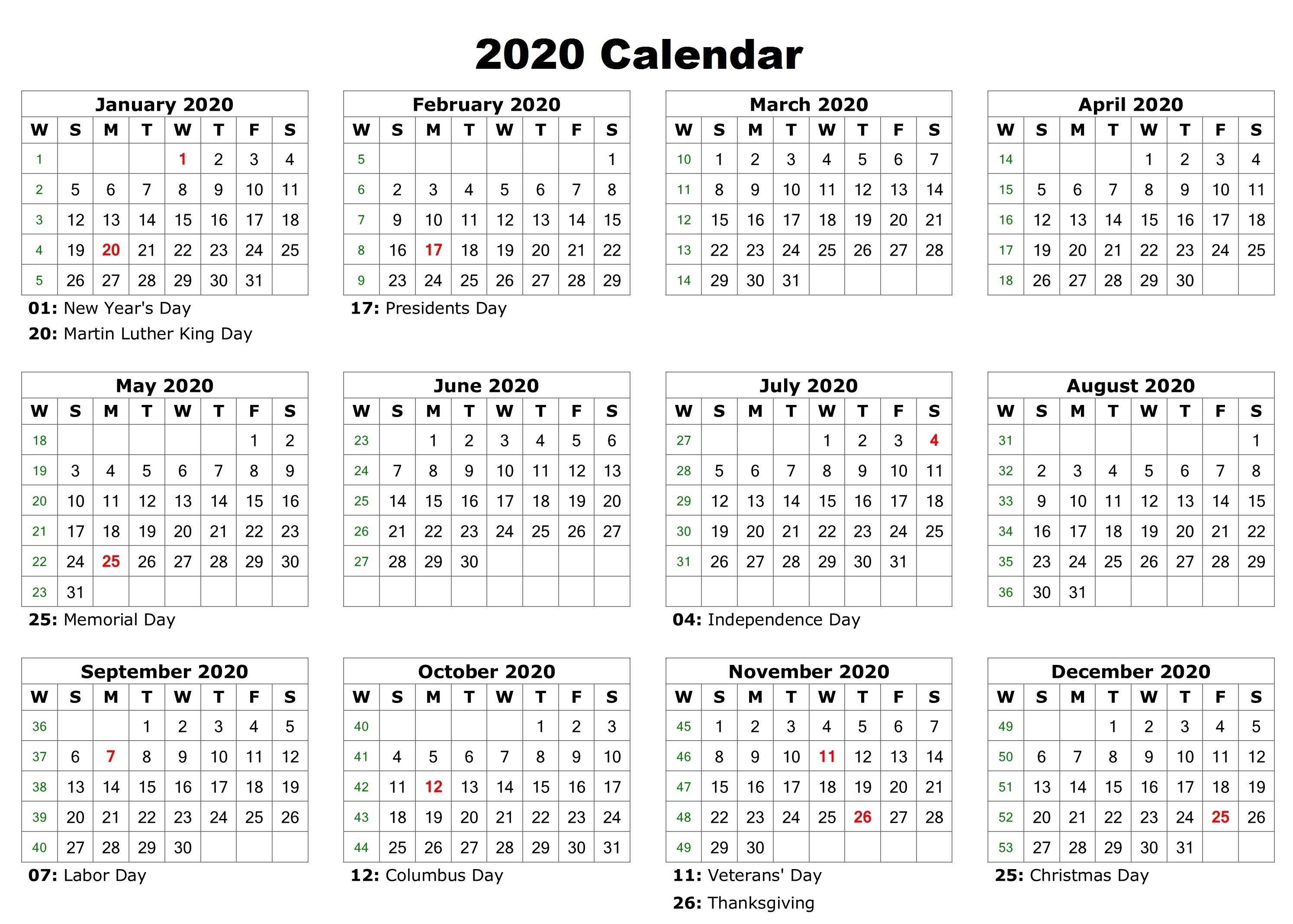 Free 12 Month 2020 Calendar With Holidays  Jackby  Medium within Printable 12 Month 2020 Calendar