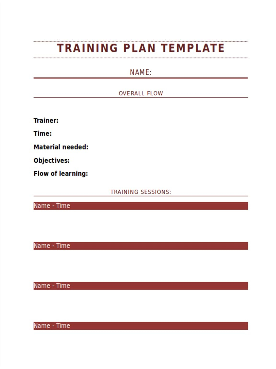 Free 14+ Training Schedule Examples And Samples In Pdf pertaining to Blank Training Plan Template