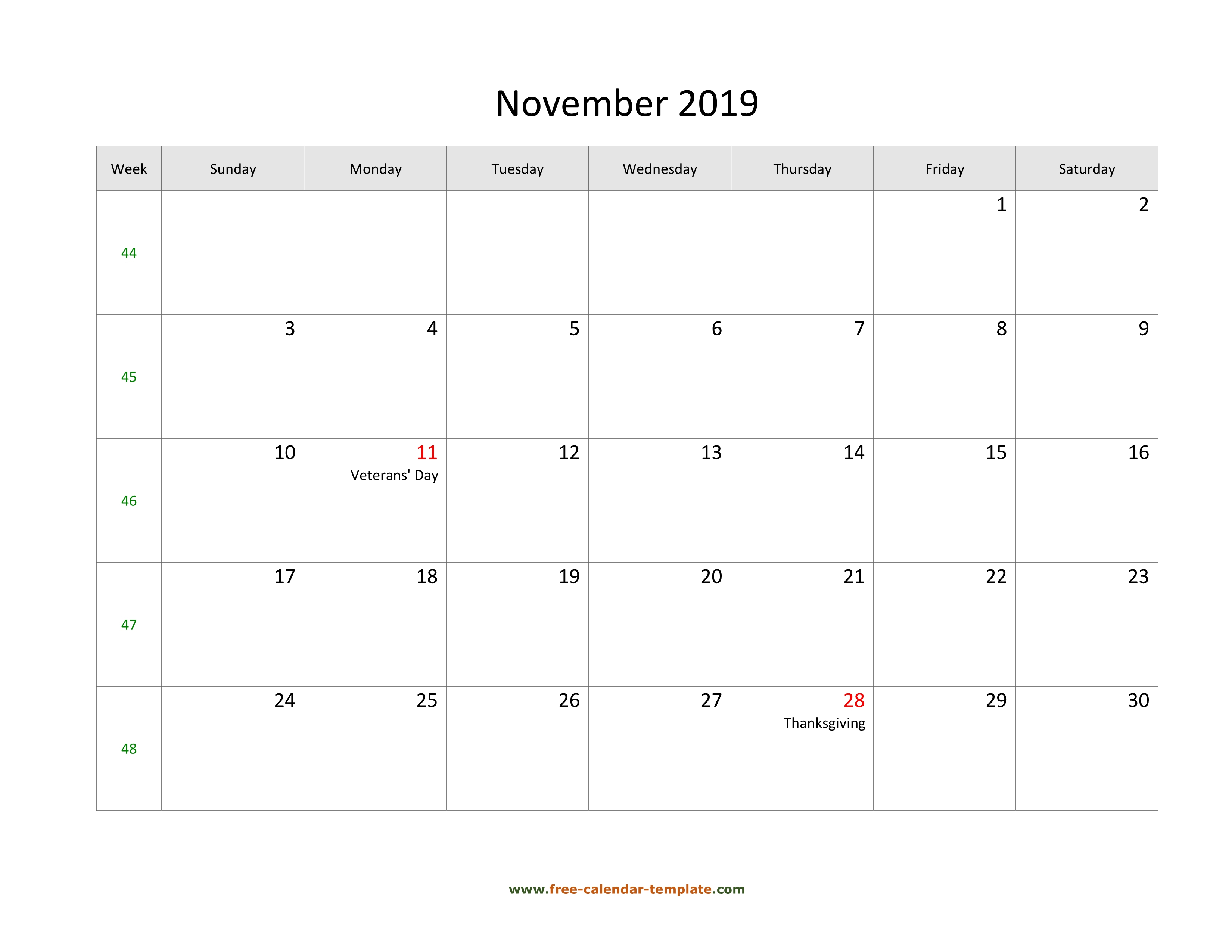Free 2019 Calendar Blank November Template (Horizontal regarding Large Grid Calendar Printable