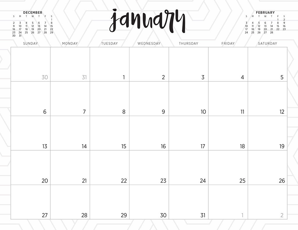 Free 2019 Printable Calendars  46 Designs To Choose From! for Mini Calendar Template
