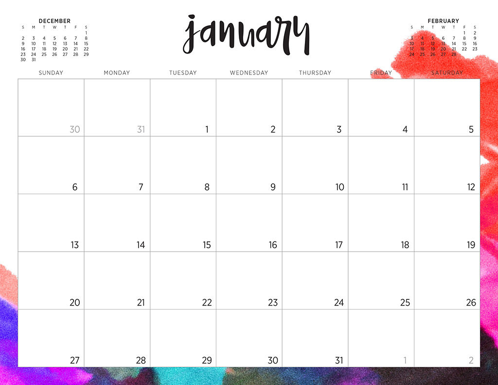 Free 2019 Printable Calendars  46 Designs To Choose From! in Printable Monthly Calendar