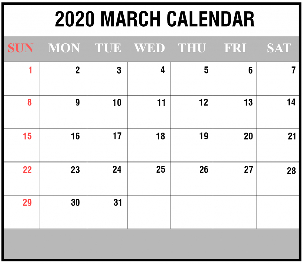 Free 2020 March Calendar Printable Editable Template Blank inside Blank Fillable Calendar