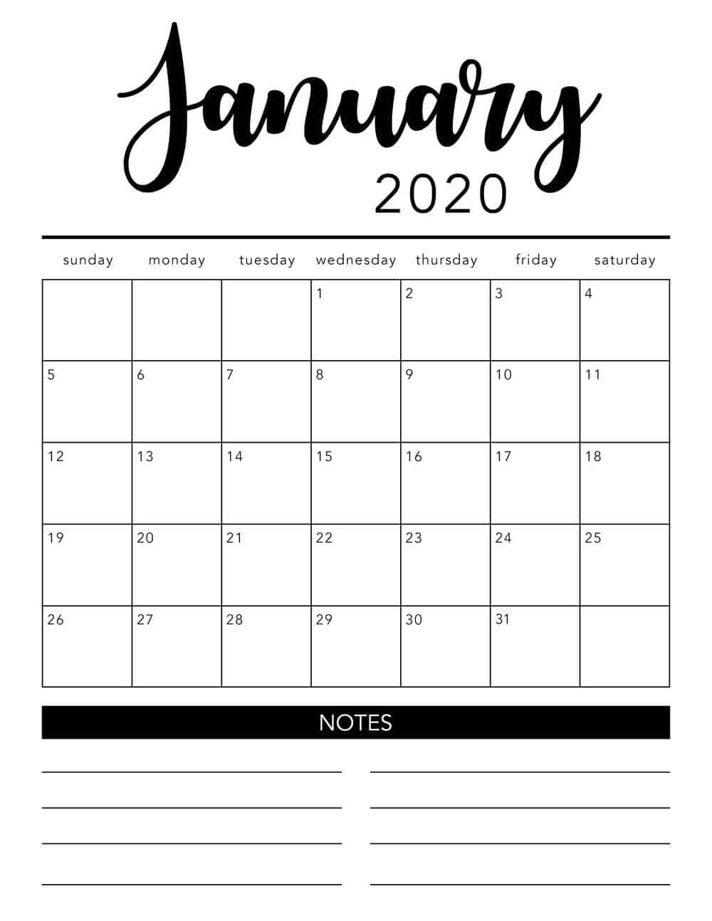 Free 2020 Printable Calendar Template (2 Colors!)  I Heart regarding Empty Printable Calendar