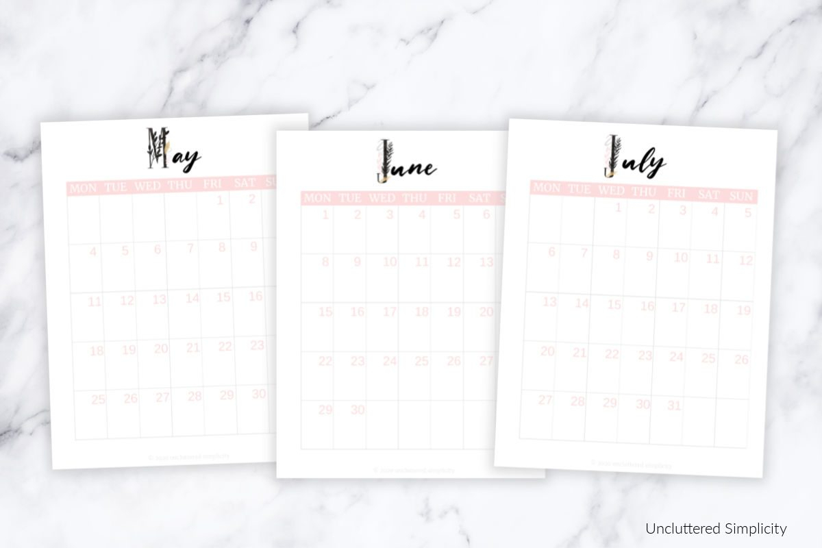Free 2020 Printable Calendar To Help You Organize Your Life in Rae Dunn Printable Calendar