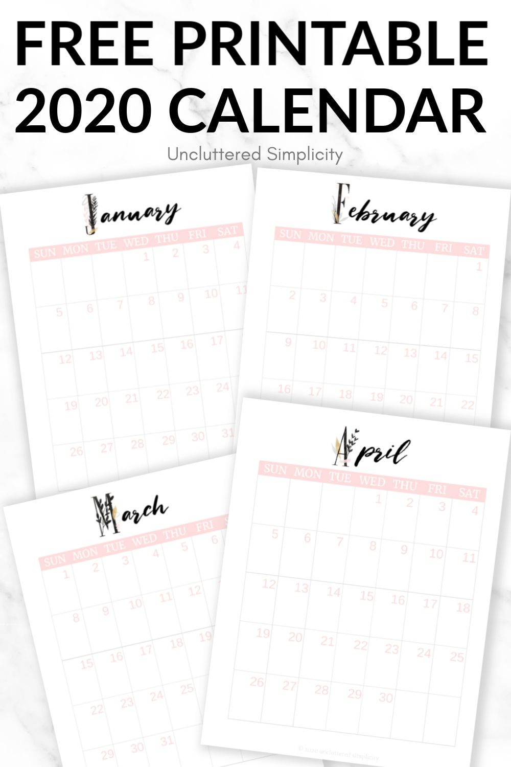 Free 2020 Printable Calendar To Help You Organize Your Life with regard to Rae Dunn Printable Calendar