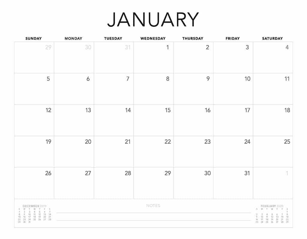 Free 2020 Printable Calendars  51 Designs To Choose From! for Printable 2020 Calendar Starting Monday
