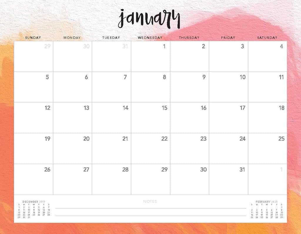 Free 2020 Printable Calendars  51 Designs To Choose From! pertaining to Monthly Calendar 2020 Printable