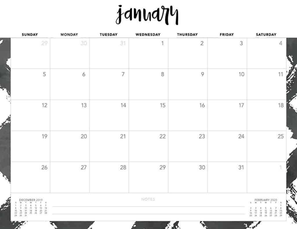 Free 2020 Printable Calendars  51 Designs To Choose From! throughout Printable 2020 Calendar Starting Monday