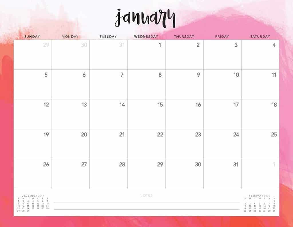 Free 2020 Printable Calendars  51 Designs To Choose From! with regard to Blogilates December 2020 Calendar