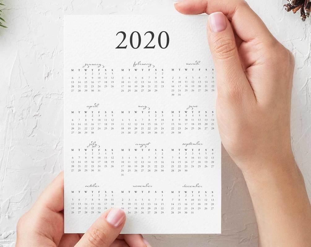 Free 2020 Yearly Calendar Printable Pdf intended for 2020 Calendar Qatar Printable