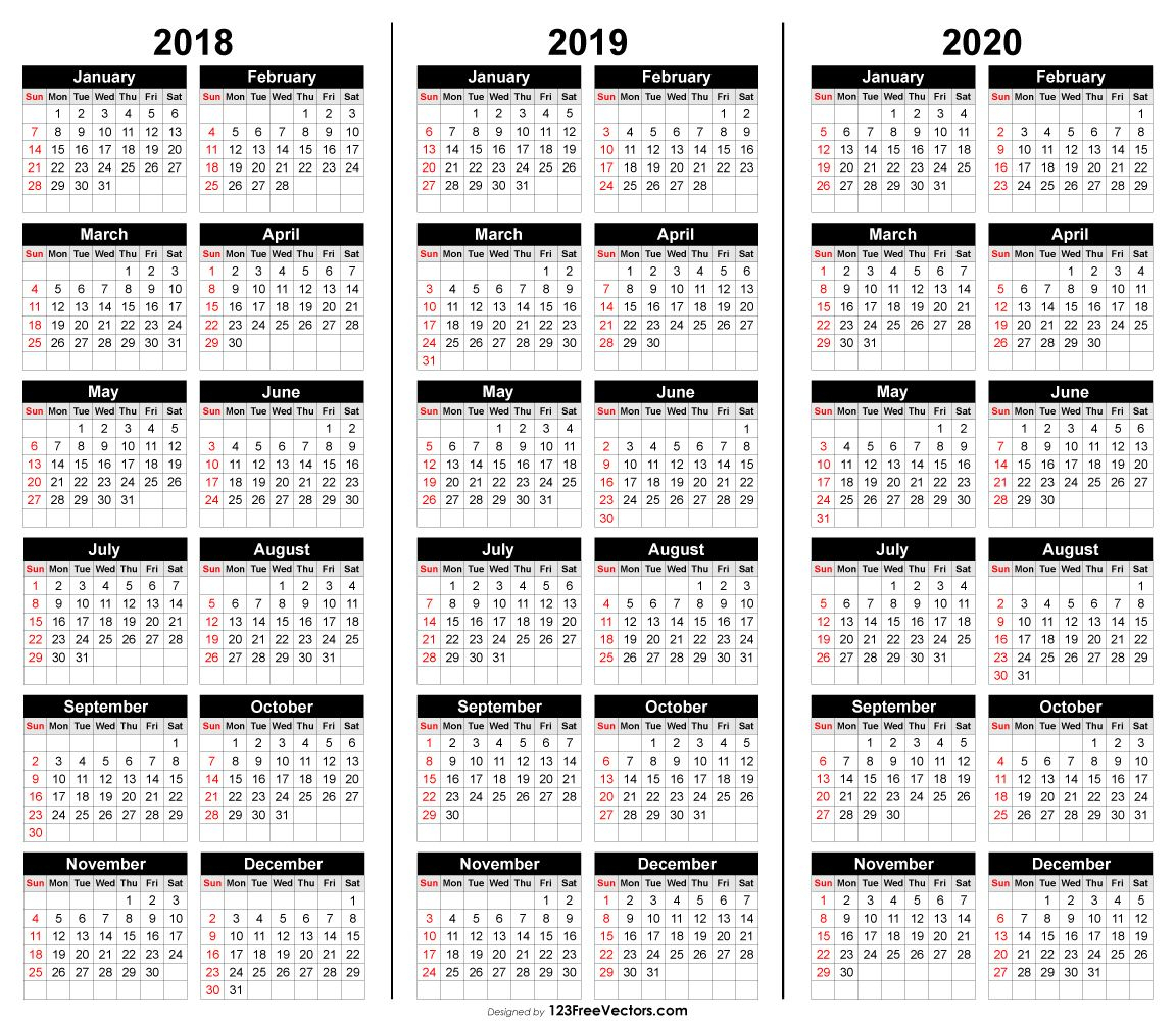 Free 3 Year Calendar 2018 2019 2020 intended for 3 Year Calendar Printable