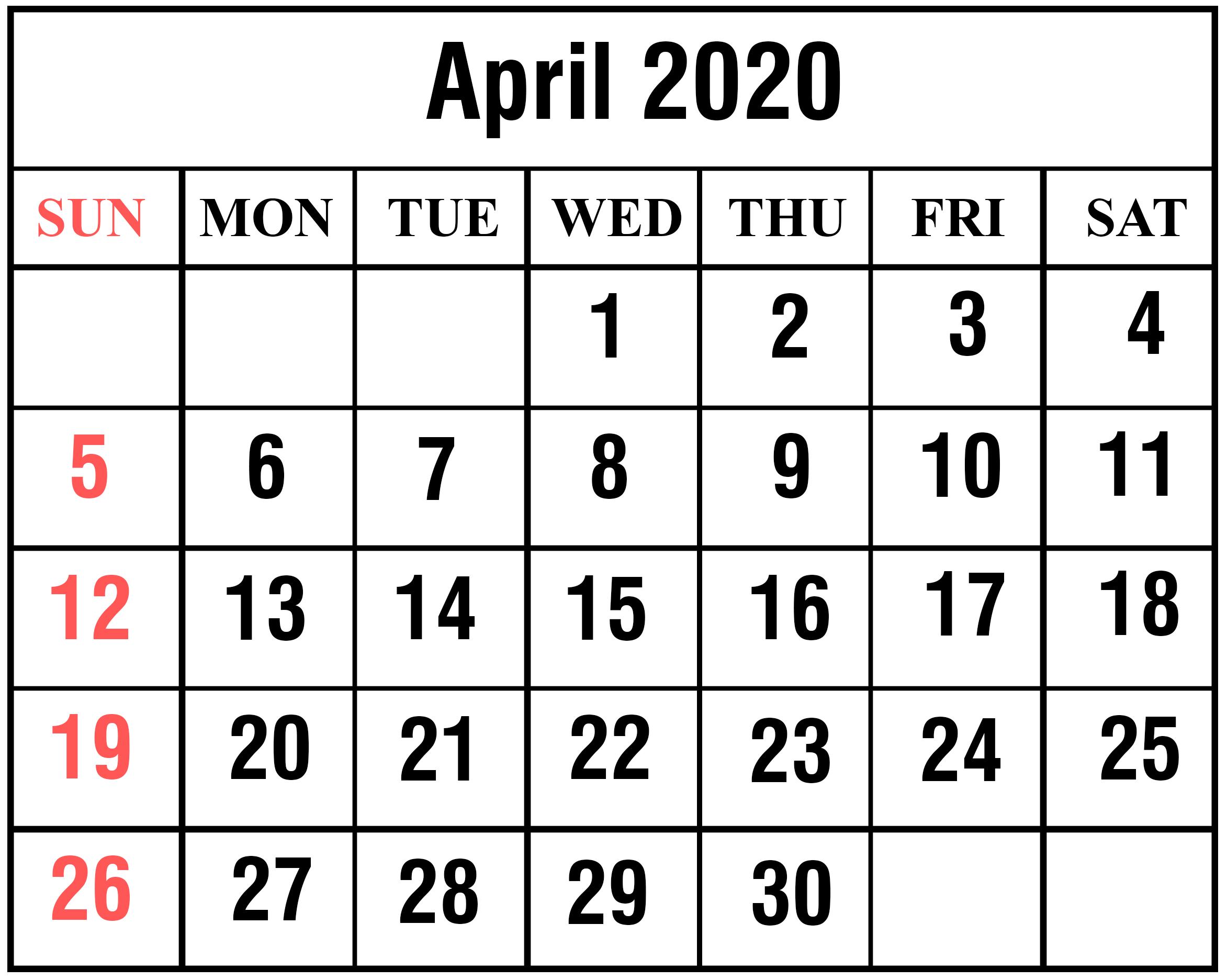 Free April 2020 Calendar Excel Pdf Download | Printable Calendar regarding Max 30 Calendar Pdf