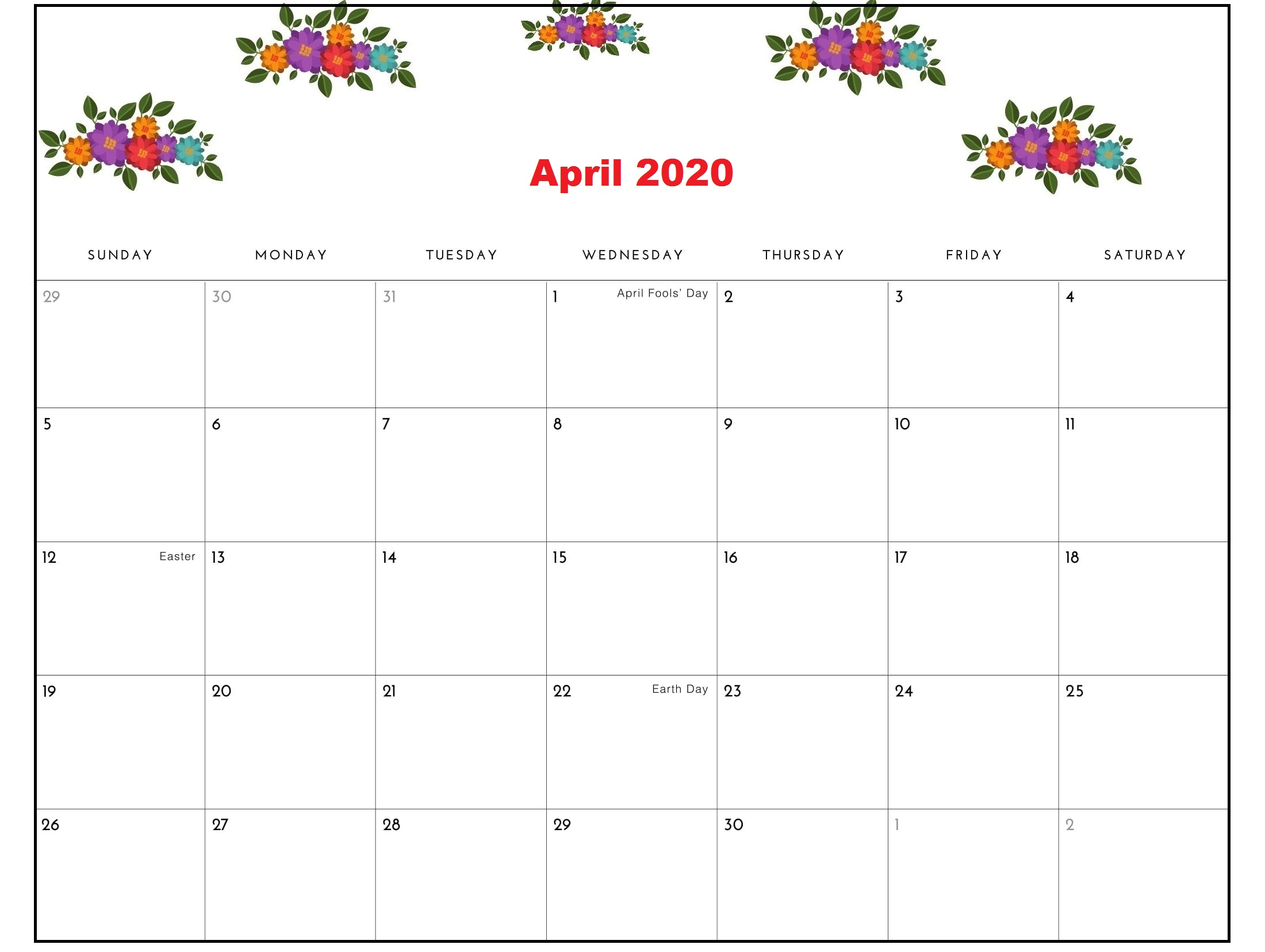 Free April 2020 Calendar Printable In Pdf, Word And Excel throughout April 2020 Printable Calendar