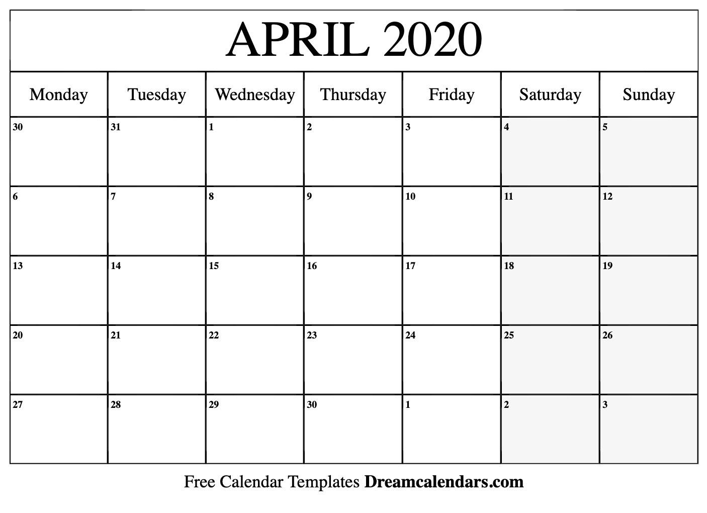 Free April 2020 Calendar  Topa.mastersathletics.co in April 2020 Printable Calendar