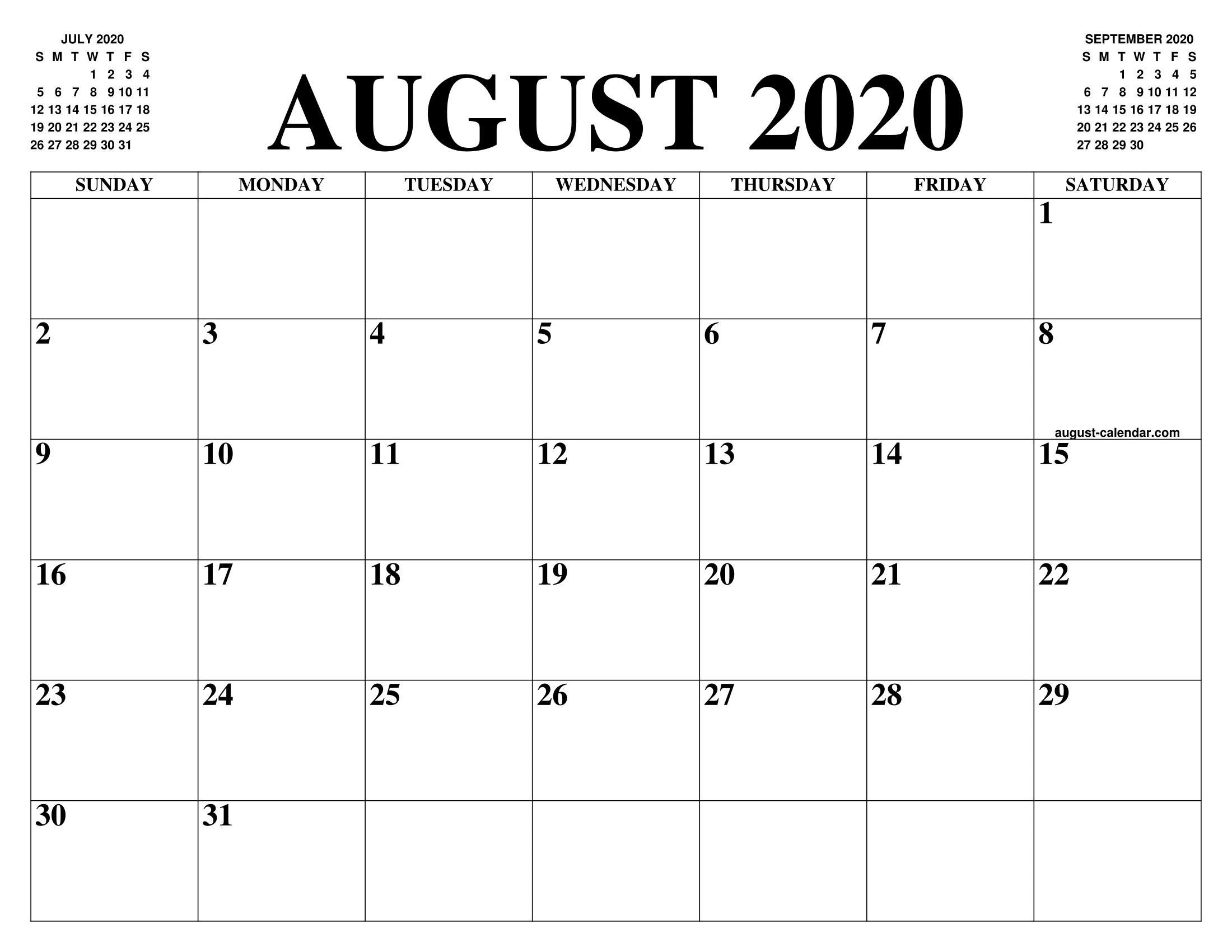 Free August 2020 Calendar Monthly Printable Templates regarding May June July August 2020 Calendar