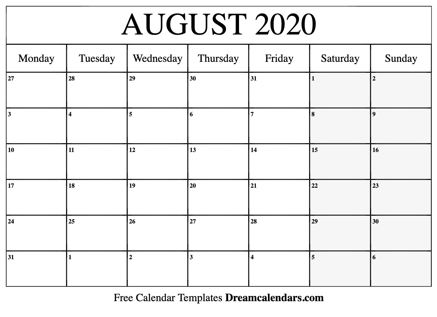 Free Blank August 2020 Printable Calendar in December 2020 Calendar Beta Calendars