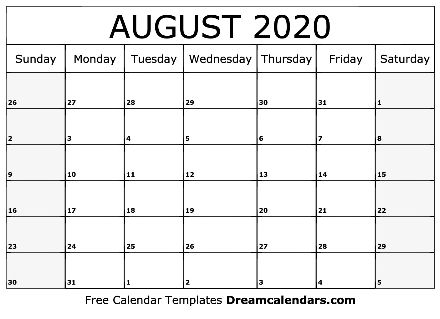 Free Blank August 2020 Printable Calendar regarding Kalendar Kuda July 2020