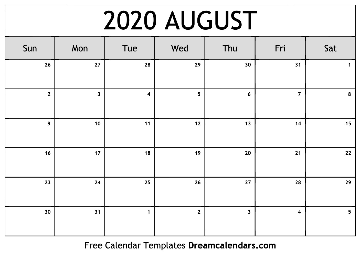 Free Blank August 2020 Printable Calendar throughout Kalendar Kuda September 2020