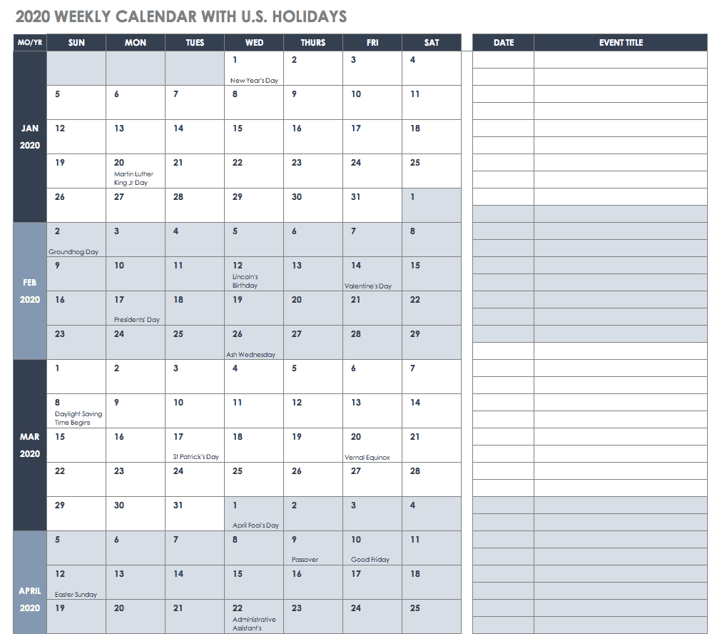 Free Blank Calendar Templates  Smartsheet throughout Time And Date Weekly Calendar