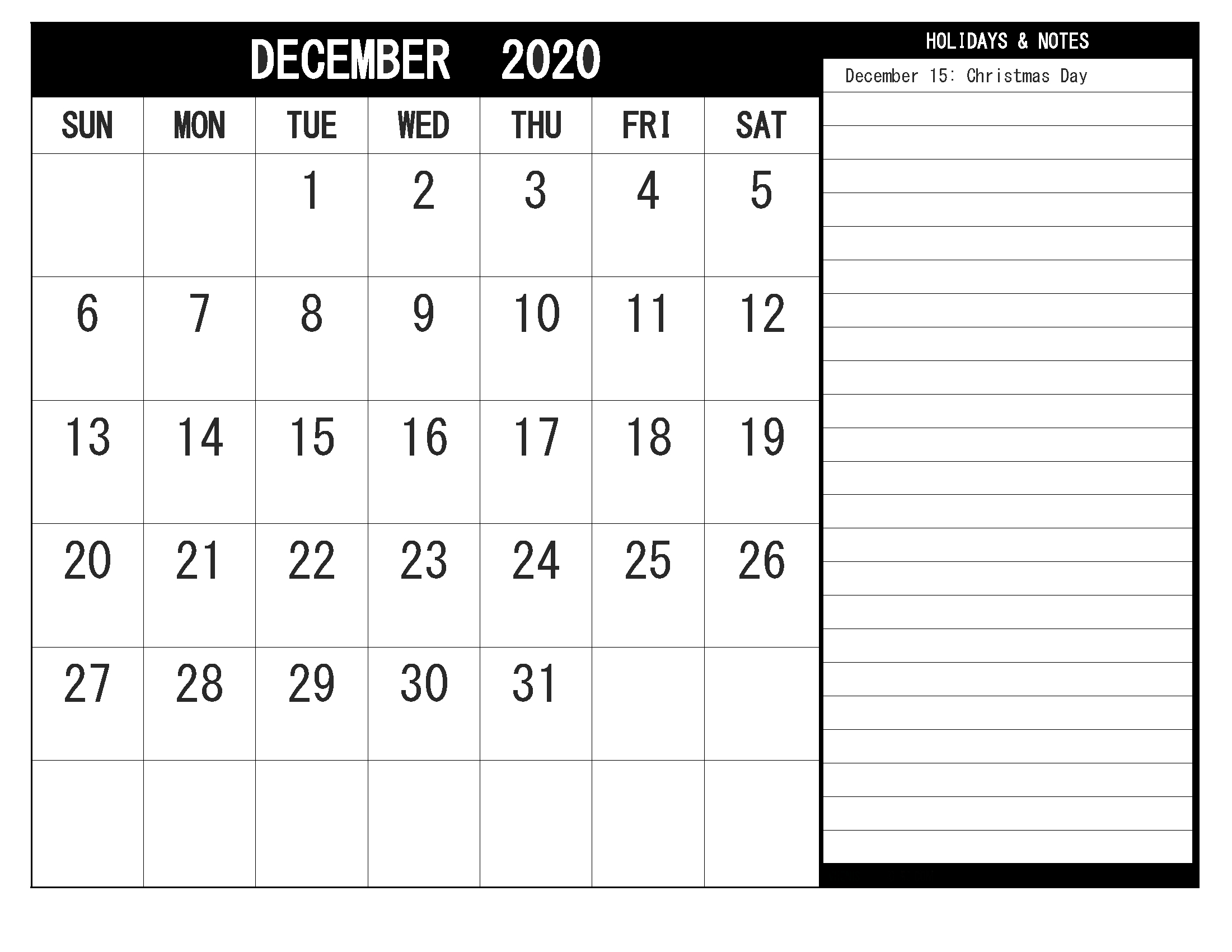 Free Blank December 2020 Calendar Printable In Pdf, Word pertaining to Max 30 Calendar Pdf